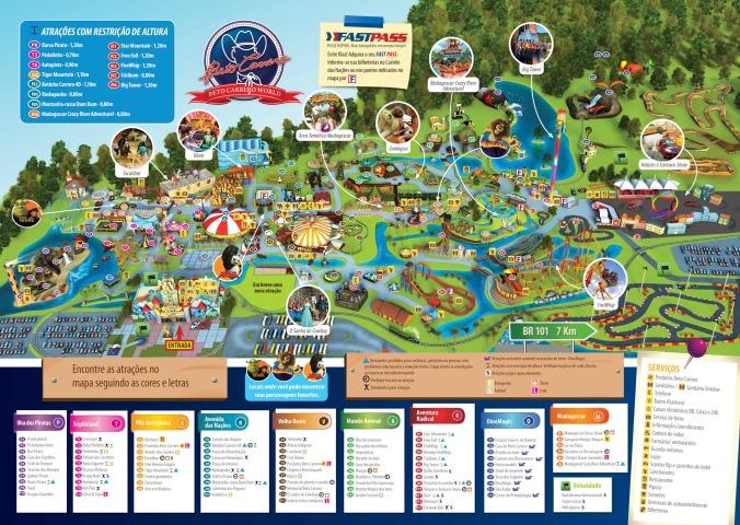 Mapa do parque Beto Carreiro Foto: Site oficial