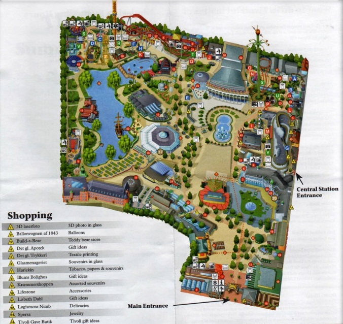 Mapa do parque Tivoli Garden, Dinamarca Foto: Site oficial